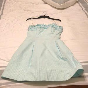 Blue and white seersucker dress